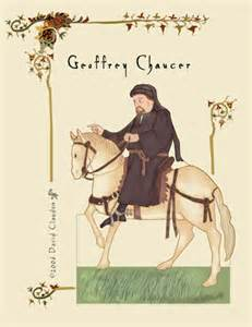Paper doll Chaucer goes from counting his beads to riding his horse.